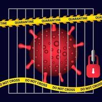 covid-19 karantän bakom fängelsestänger vektor