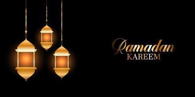 Ramadan Kareem Hintergrund mit leuchtenden Laternen vektor