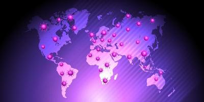 lila global karta som visar global pandemi