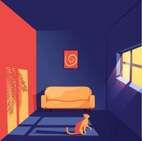 Illustration 3d av en katt i ett rum som stirrar på fönstret.
