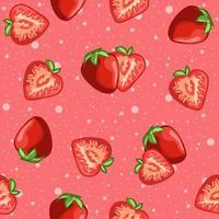 rosa rotes nahtloses Muster von Erdbeeren und Fruchtscheiben.