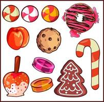 designelementpaket med olika typer av godis och desserter. vektor