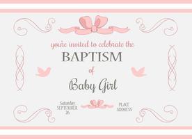 Baby-Mädchen-Taufe-Vektoreinladung