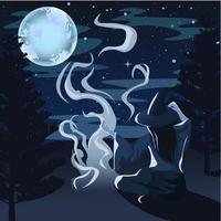 Nachtwaldlandschaft mit Bäumen, Sternen und Vollmond.