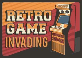 retro spel invaderande affisch vektor