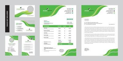 modernes grünes Geschäftsunternehmens-Briefpapierschablonendesign vektor