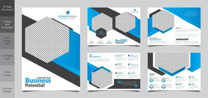 8-seitiges Design der blauen Broschürenvorlage