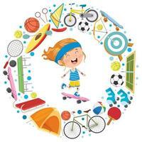 liten flicka omgiven av sportutrustning vektor