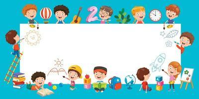 tecknad barn med en ram med kopia utrymme
