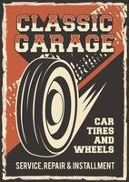 auto service bil däck reparera affisch