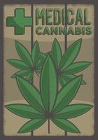 medicinsk cannabis marijuana skylt affisch vektor
