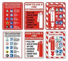 Feuerlöscher Anweisungen Etikettensatz vektor