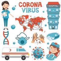 uppsättning coronavirus och medicinska element för hälsovård vektor