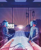 hoffnungsvolle Ärzte, die sich während der Pandemie um den Patienten kümmern