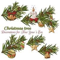 handgezeichnete Zweige mit Weihnachtsschmuck vektor