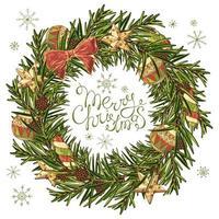Weihnachtskranz im handgezeichneten Stil vektor
