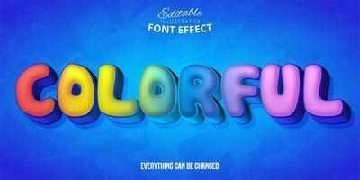 färgglada bubbla bokstav teckensnitt effekt vektor
