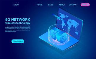 5g nätverksteknologi på bärbar dator