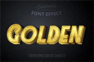 Glitch goldenen Texteffekt vektor