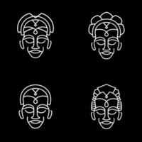 Mono Line Afrika Totem Set vektor