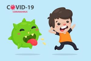 Cartoon-Mann läuft von einem Coronavirus weg vektor