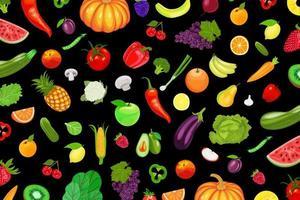 frukt och grönsaker mönster på svart