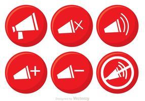 Röda högtalarknapp vektorer
