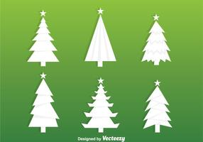 Vit julgran siluett vektorer
