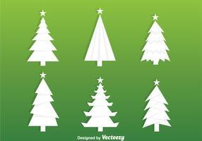 Weiße Weihnachtsbaum-Silhouette-Vektoren