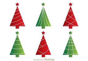 Rote und grüne Cristmas Baum Vektoren