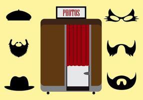 Vektor illustration av en Photobooth och andra tillbehör
