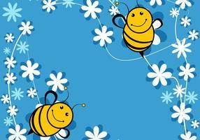 Gullig Bee Blå Bakgrund vektor