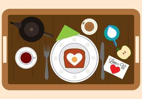 Vektor-Illustration von Frühstück in Bett-Elemente vektor