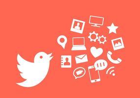 Vektor illustration av Twitter Bird och andra kommunikations ikoner