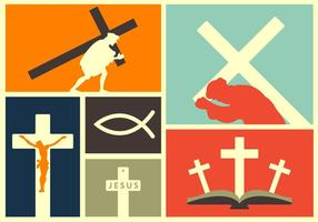 Vektor illustration av religiösa händelser och element