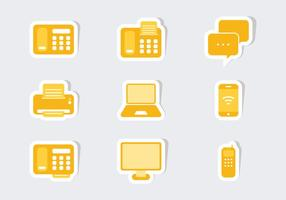 Kommunikation Ikon Sticker Vectors