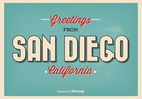 Retro stil San Diego hälsning illustration vektor
