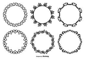 Handdragen stil Dekorativ ramuppsättning vektor