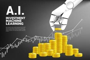 Grafik und Roboter Hand stapeln Münzen