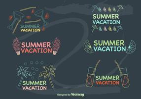 Handgezeichnete Sommerferien Etiketten