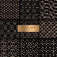 Luxus Gold geometrische nahtlose Muster-Set vektor