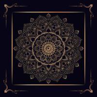 goldenes Mandala im quadratischen Rahmen vektor