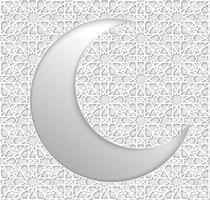 islamischer weißer Halbmond des Ramadanhintergrunds