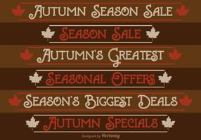 Herbst Saison Verkauf Etiketten vektor
