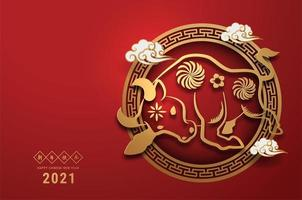 reich verziertes Ochsenplakat im Papierschnitt für das chinesische Neujahr