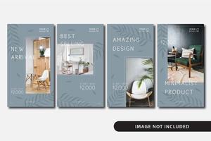 minimalistische Möbel Social Media Story Vorlage vektor