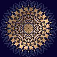 guld och mörkblå mandala på svart vektor