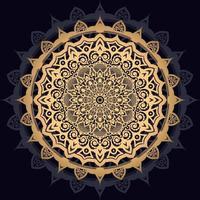 gyllene solmandala på svart vektor