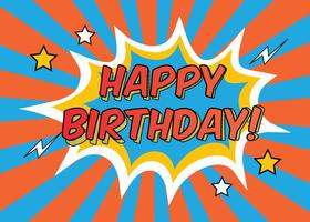 Comic Style Grattis på födelsedagen Illustration vektor