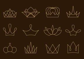 Lineare goldene Krone Vektoren
